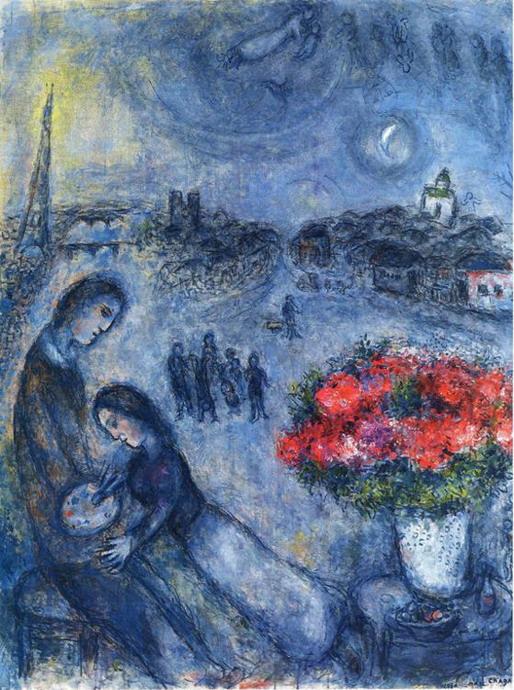 Марк Шагал «Новобрачные на фоне Парижа» 1980 г